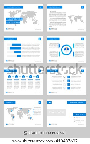 Marketing kit presentation vector template. Modern business presentation graphic design. Power point layout with diagrams and charts. Marketing kit visualization template. Easy to use, edit and print. - stock vector