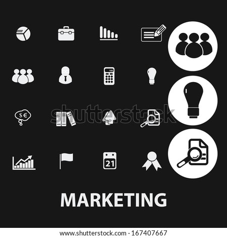 marketing, management, human resources icons set, vector - stock vector