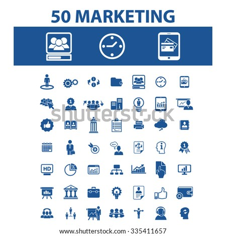 marketing, market icons, signs vector concept set for infographics, mobile, website, application  - stock vector