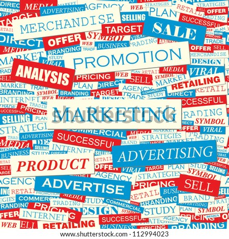 Marketing. Seamless vector background. - stock vector