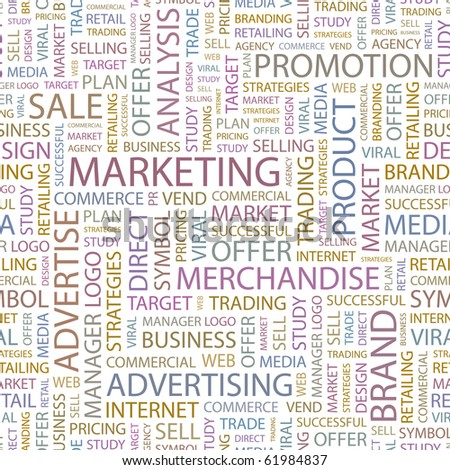 MARKETING. Seamless vector background. Wordcloud illustration. - stock vector