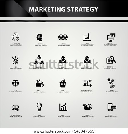Marketing strategy icons,Black version,vector - stock vector