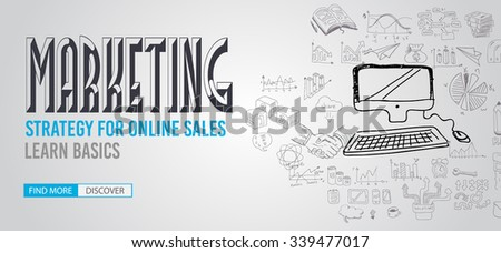 Marketing Strategy  with Doodle design style :finding solution, brainstorming, creative thinking. Modern style illustration for web banners, brochure and flyers. - stock vector