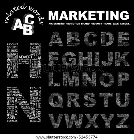 MARKETING. Vector letter collection. Wordcloud illustration. - stock vector