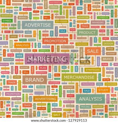 MARKETING. Word collage. Seamless illustration. - stock vector