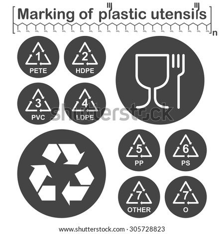 Marking of plastic utensils icons set on dark round plates, gray and white colors, 2d vector, eps 8 - stock vector