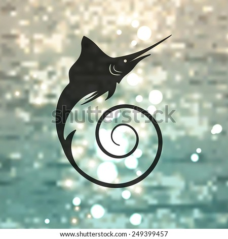 Marlin fish on the sea background - stock vector