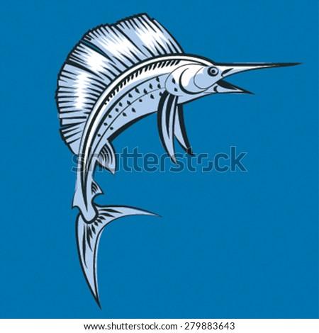 Marlin fish. Vector illustration  on blue backround - stock vector