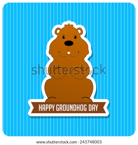 Marmot on blue background for Groundhog day - stock vector