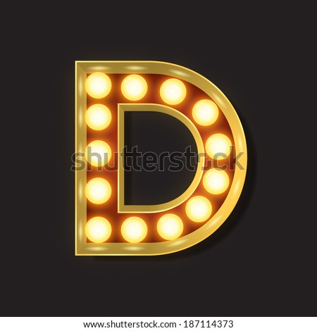 Marquee Light Letter - Vector - D - stock vector