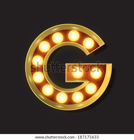 Marquee Light Letter - Vector - G - stock vector