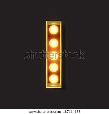 Marquee Light Letter - Vector - I - stock vector