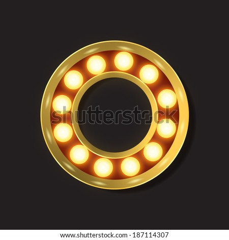 Marquee Light Letter - Vector - O - stock vector