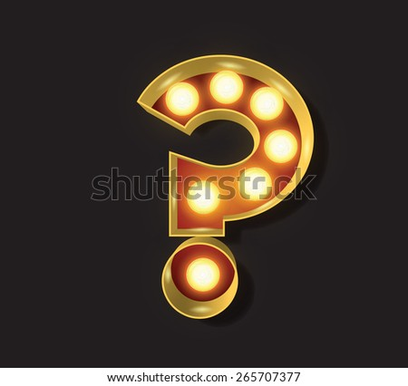 Marquee Light Letter - Vector - ? Question Mark - stock vector
