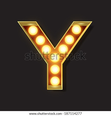 Marquee Light Letter - Vector - Y - stock vector