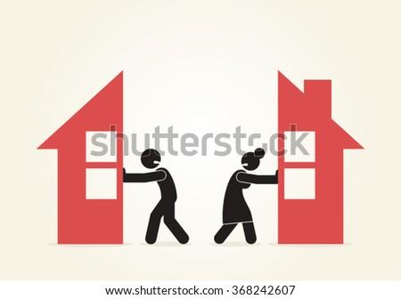 Marriage Couple Relationship Divorce Separation Problems Split up Vector Design - stock vector