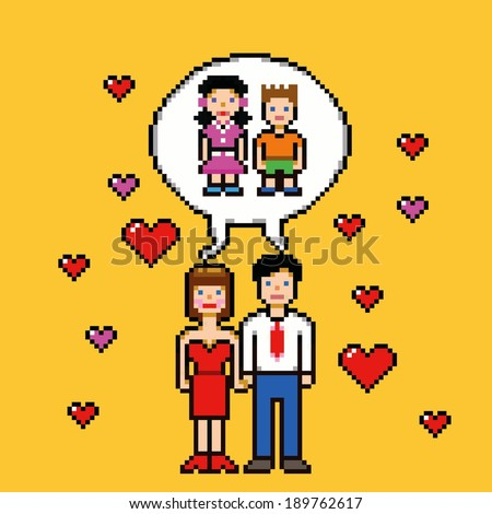 marriage dream about children pixel art style concept vector image - stock vector