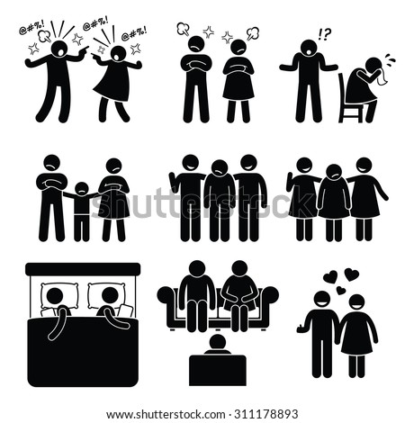 Marriage Family Problem Couple Husband Wife with Counselor  - stock vector