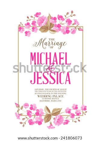 Marriage invitation card with calligraphyc sign isolated over white backgroud. Vector illustration. - stock vector