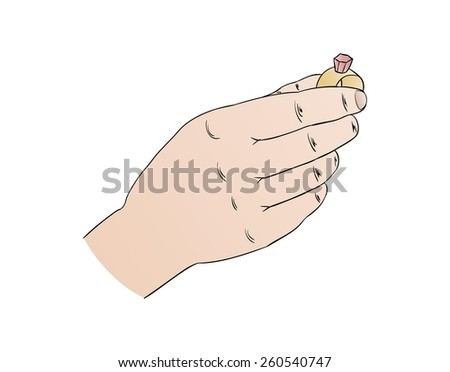 marriage proposal with ring in hand, isolated - stock vector