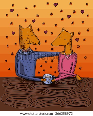 married couple. fox sitting at table. with cup of coffee or tea. - stock vector