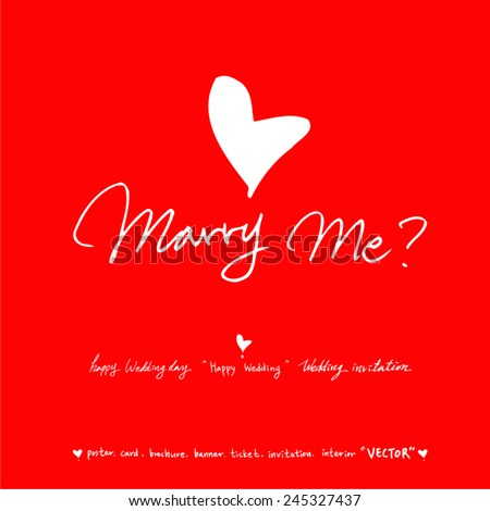 marry me / vector - calligraphy - stock vector