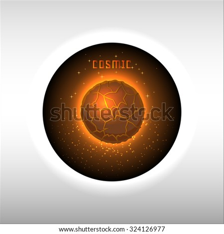 Mars banner with letter Cosmic. Vector illustration. Space, stars and sparkles, fire planet icon. View from the window in the galaxy.  - stock vector