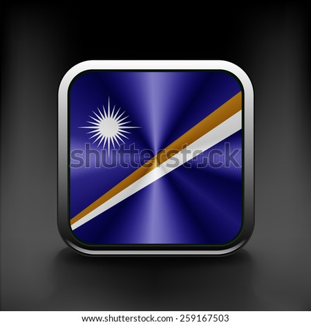 Marshall Islands flag pattern on the fabric texture - stock vector