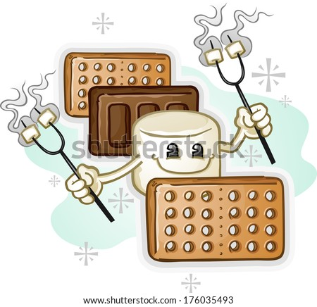 Marshmallow Smores Cartoon Character holding Roasting Sticks - stock vector