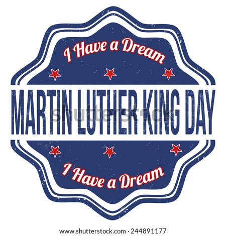 Martin Luther King Day grunge rubber stamp on white, vector illustration - stock vector