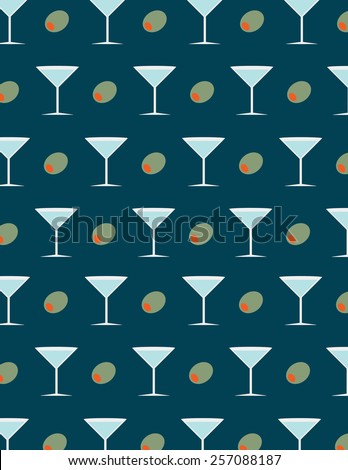 Martini and olive pattern over blue background - stock vector