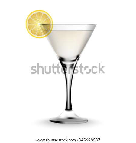 Martini cocktail in a glass with lemon. Realistic alcoholic beverage. - stock vector