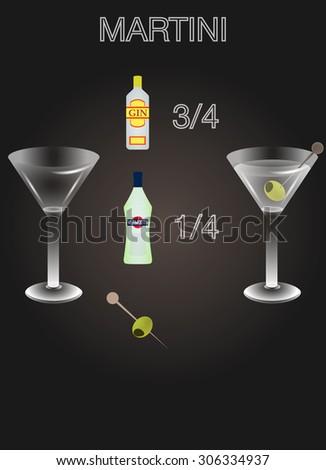 Martini cocktail's recipe - stock vector