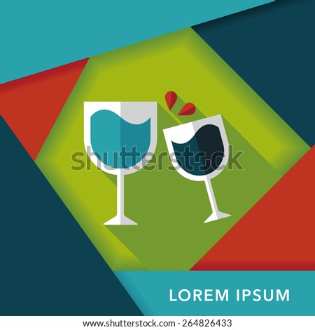 Martini glass cheers flat icon with long shadow,eps10 - stock vector