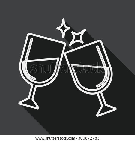 Martini glass cheers flat icon with long shadow, line icon - stock vector