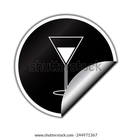 Martini Glass Icon with round sticker - stock vector