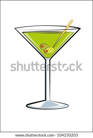 Martini sketch - stock vector