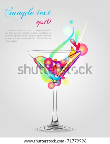 Martini vector glass with multicolor abstract splash - stock vector