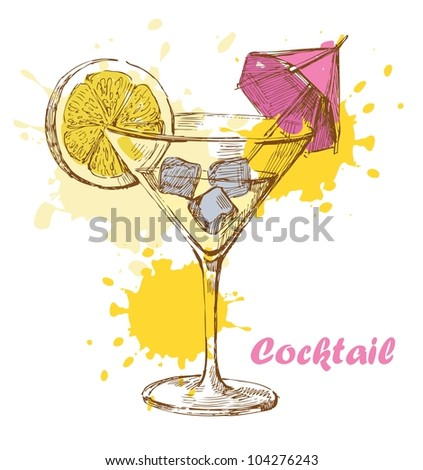 Martini with ice and lemon - stock vector