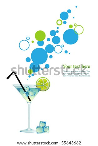 Martini with ice and lime. - stock vector