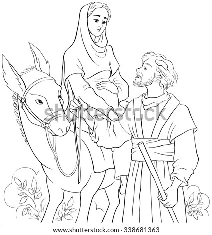 Mary and Joseph travelling by donkey to Bethlehem. Nativity story. Colouring page. Also available colored illustration - stock vector