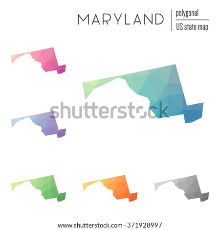 Maryland state map in geometric polygonal style. Set of Maryland state maps filled with abstract mosaic, modern design background. Multicolored state map in low poly style - stock vector