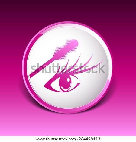 mascara eye brush paint makeup stroke isolated eyelash. - stock vector