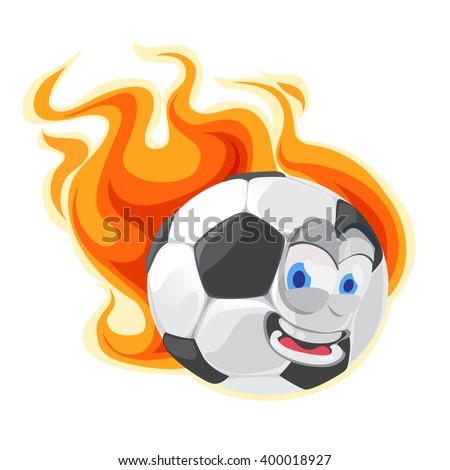 Mascot cartoon character funny Soccer Ball flies reserving the flames on white background - stock vector