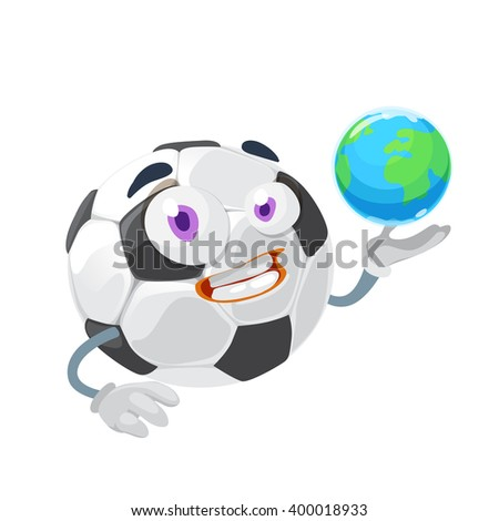 Mascot cartoon character funny Soccer Ball in his hand planet earth on white background - stock vector