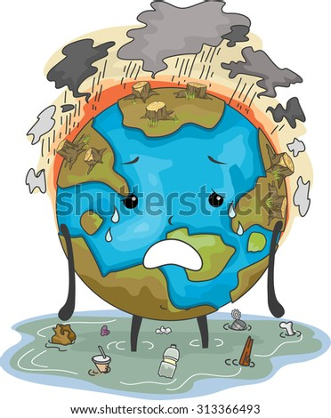 Mascot Illustration Featuring the Earth Suffering from Flooding Air Pollution and Deforestation - stock vector