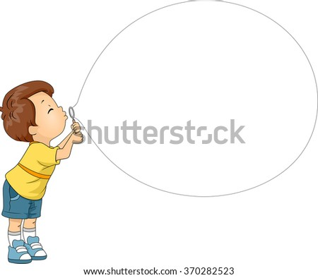 Mascot Illustration of a Boy while blowing his Bubble Toy - stock vector