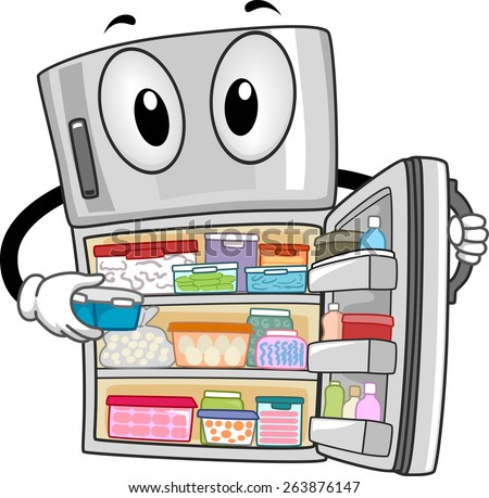 Mascot Illustration of a Fully-Stocked Refrigerator Showing Its Contents - stock vector