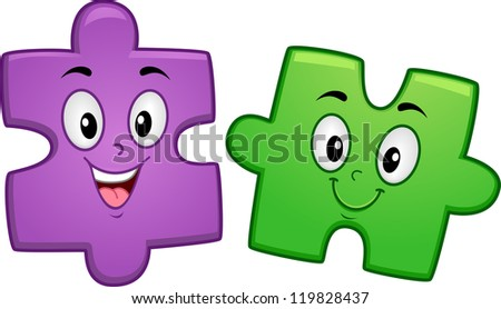 Mascot Illustration of a Pair of Jigsaw Puzzle Pieces Smiling Happily - stock vector