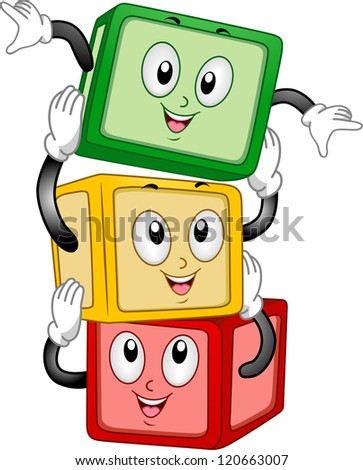 Mascot Illustration of a Stack of Building Blocks Stacking Themselves Together - stock vector